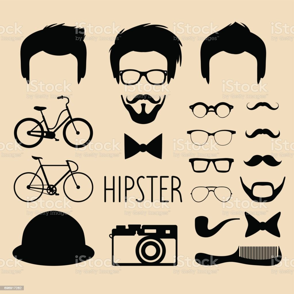 5f8fb3f2f46 Big vector set of dress up constructor with different men hipster haircuts