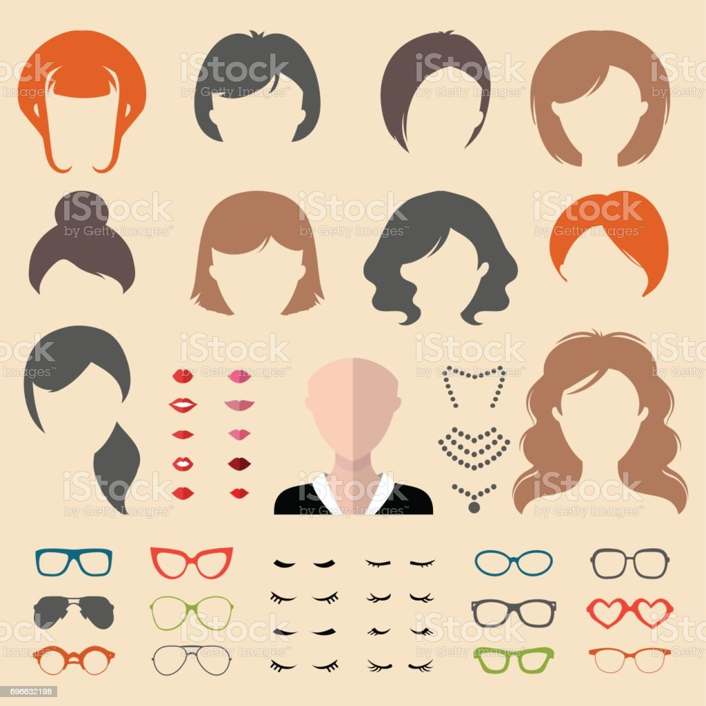 040184b9bd2 Big Vector Set Of Dress Up Constructor With Different Woman Haircuts ...