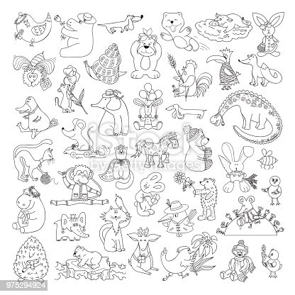Ilustración de Conjunto De Vector Grande De Graciosos Animales ...