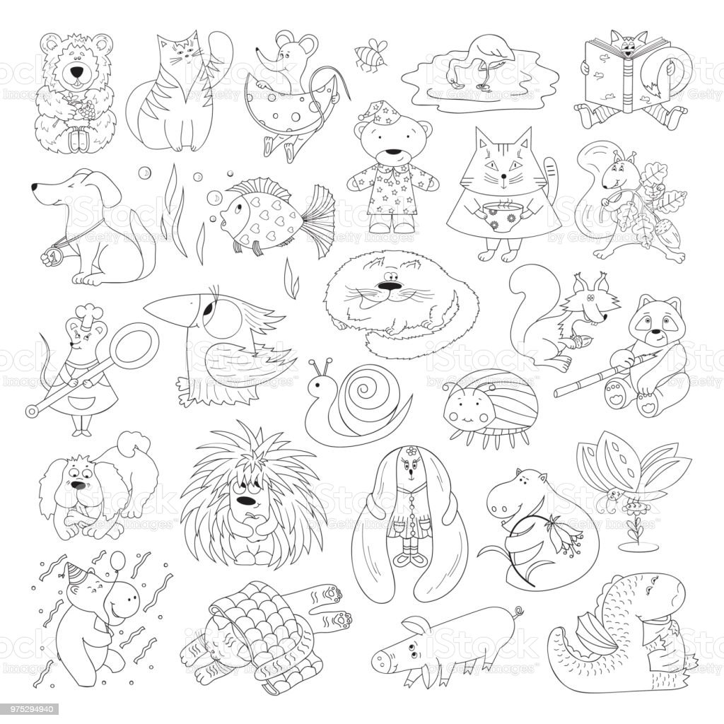 Big Vector Set Of Funny Wild Animals And Pets Coloring Page For Kids