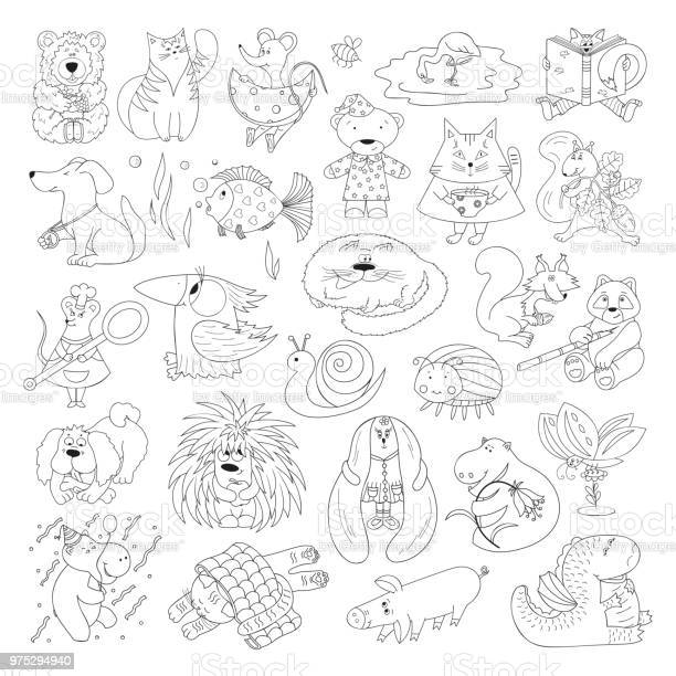 Big vector set of funny wild animals and pets coloring page for kids vector id975294940?b=1&k=6&m=975294940&s=612x612&h=nzlopiqwkdujkyz6zxcmqpqgbtrm80bzcpzbvfv6n4i=