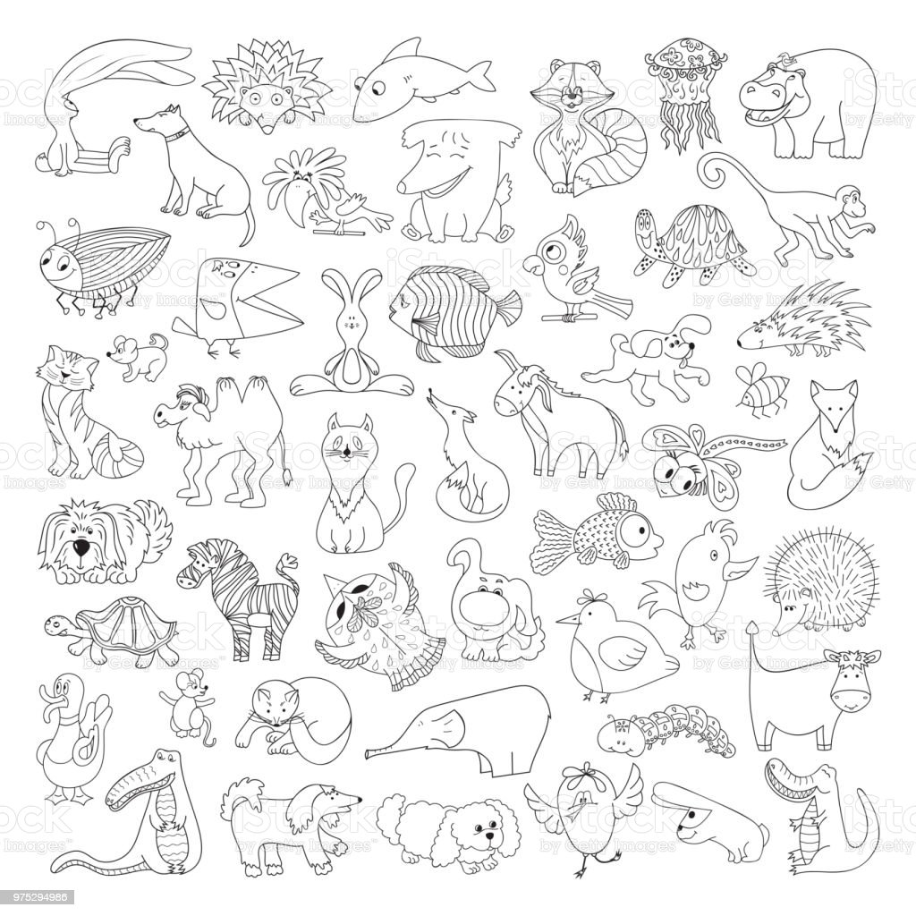 Big Vector Set Of Funny Wild Animals And Pets Coloring Page For Kids Cute Cartoon Animals Birds Insects And Fishes For Coloring Book Stock Illustration Download Image Now Istock