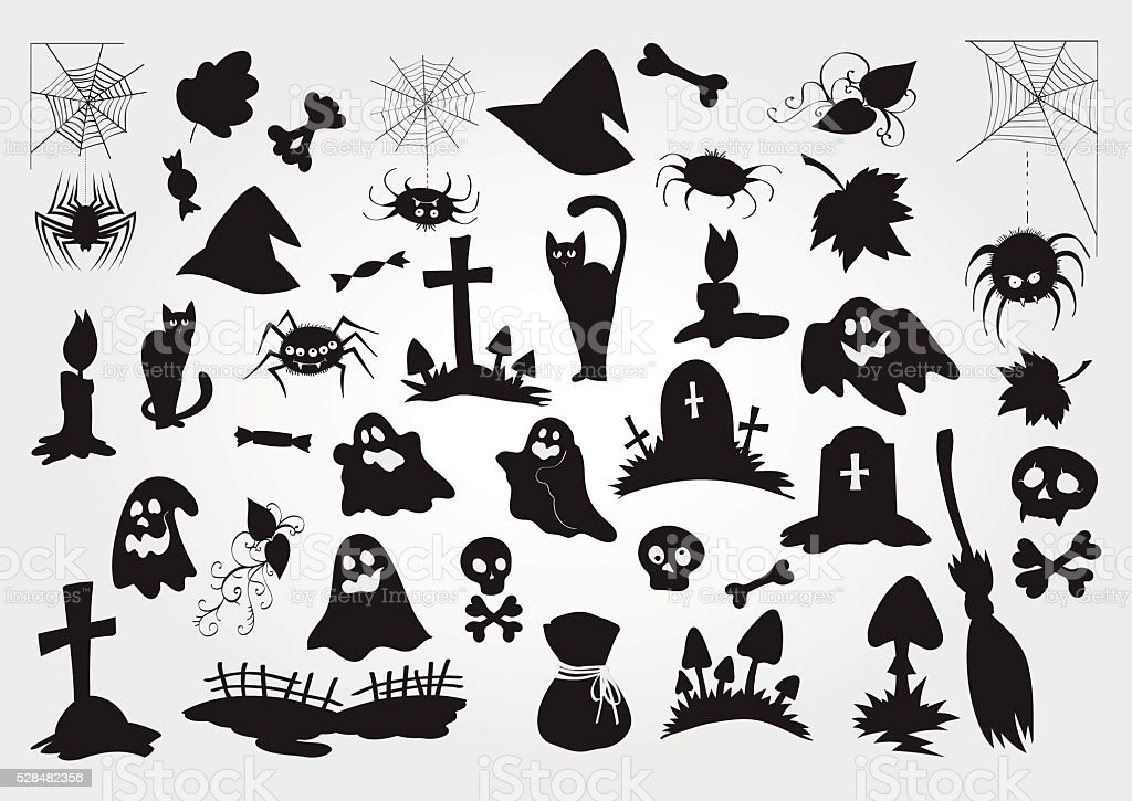 Big Vector Set Of Halloween Silhouettes Objects And Creatures ...