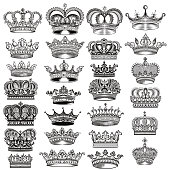 Big vector set of hand drawn detailed crowns for design