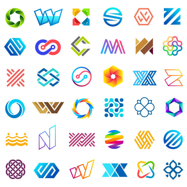 big vector set of icons design. unusual icons for business - abstract icons stock illustrations