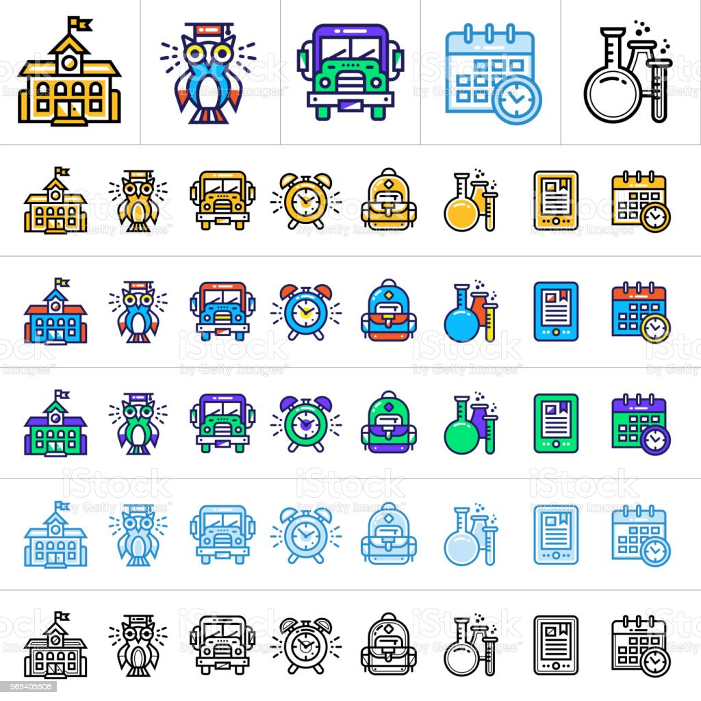 Big vector set of linear icons for school and education in different style. Suitable for website, mobile application and presentation royalty-free big vector set of linear icons for school and education in different style suitable for website mobile application and presentation stock vector art & more images of calendar