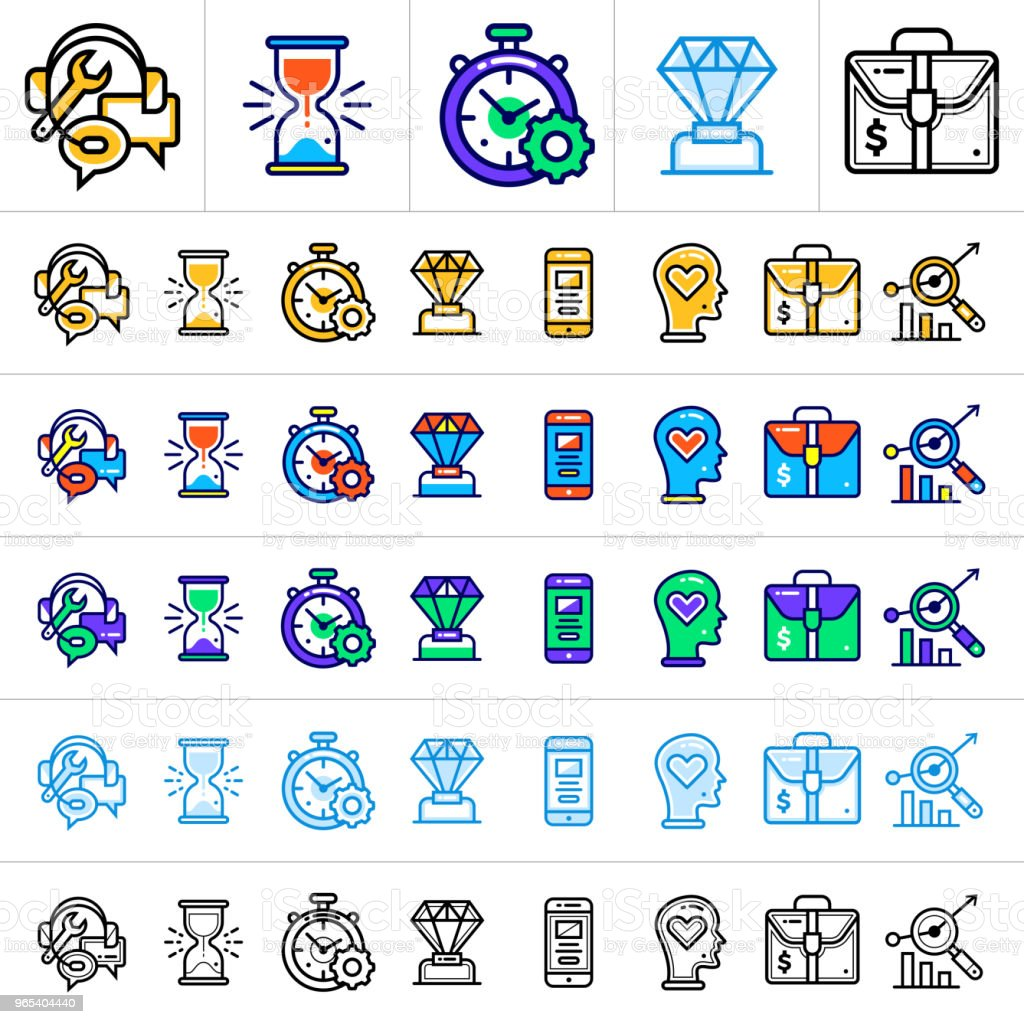 Big vector set of linear icons for startup business in different style. Suitable for website, mobile application and presentation. royalty-free big vector set of linear icons for startup business in different style suitable for website mobile application and presentation stock vector art & more images of business