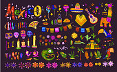 Big vector set of mexico elements, symbols & animals in flat hand drawn style isolated on dark background.