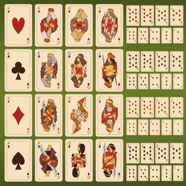 großen vektor-spielkarten mit stilisierten figuren set - holzdeck stock-grafiken, -clipart, -cartoons und -symbole