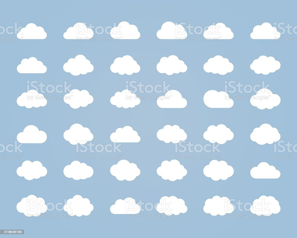 Big vector set of thirty-six white cloud  shapes vector art illustration