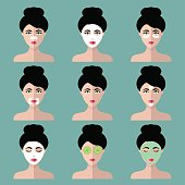 Big vector set of women icons with different cosmetic treatment facial masks in flat style. Female faces collection.