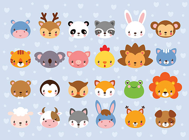 big vector set with animal faces. - cute stock illustrations