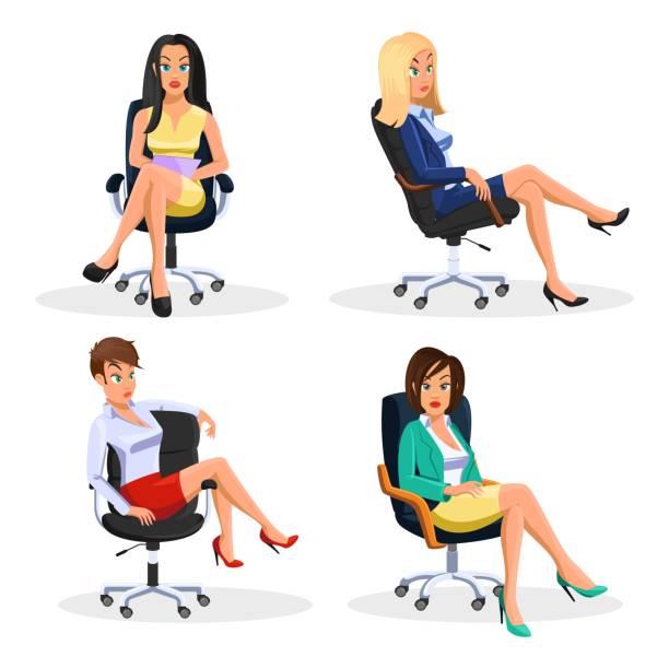 bildbanksillustrationer, clip art samt tecknat material och ikoner med stora vector set med unga slim affärskvinnor sitter vid rullande kontors fåtöljer i olika ställningar - korslagda ben