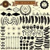 Big vintage design kit. Vector icons for retro design.
