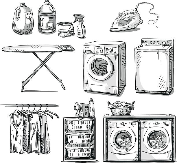 big wash. laundry objects. vector sketch. - washing machine stock illustrations, clip art, cartoons, & icons