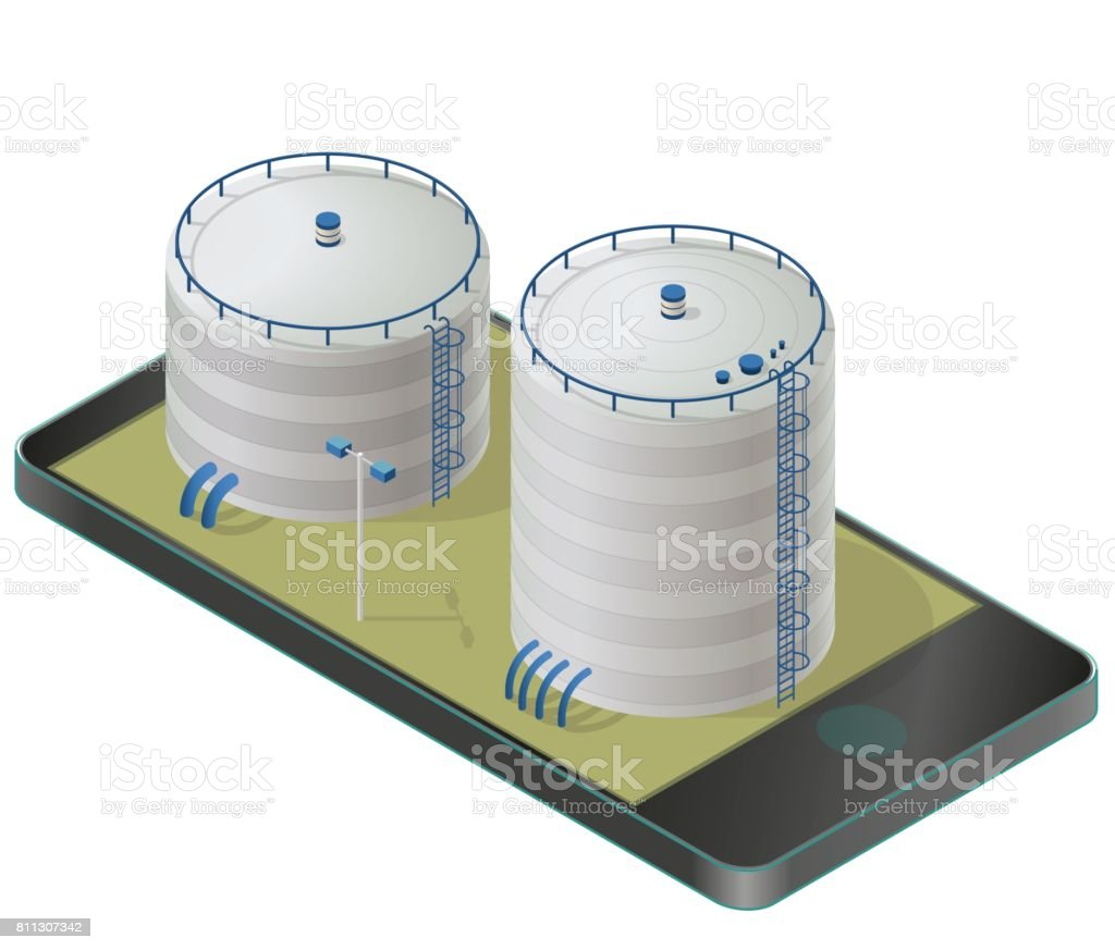 Big water reservoir in mobile phone. White water supply resource. vector art illustration