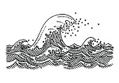Hand-drawn vector drawing of a Big Wave at the Sea. Black-and-White sketch on a transparent background (.eps-file). Included files are EPS (v10) and Hi-Res JPG.