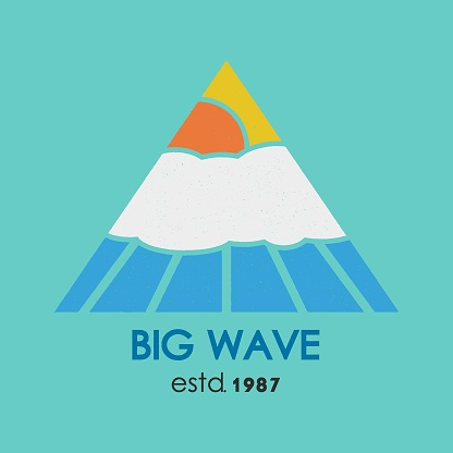 Big wave t-shirt. Inscription typography, graphic design, emblem.