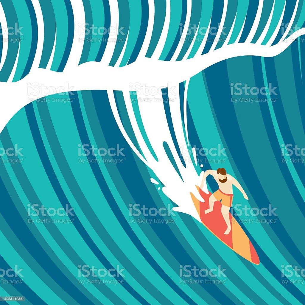 Big wave vector art illustration