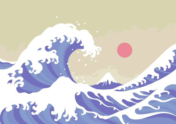 Best Japanese Wave Wallpaper Silhouette Illustrations