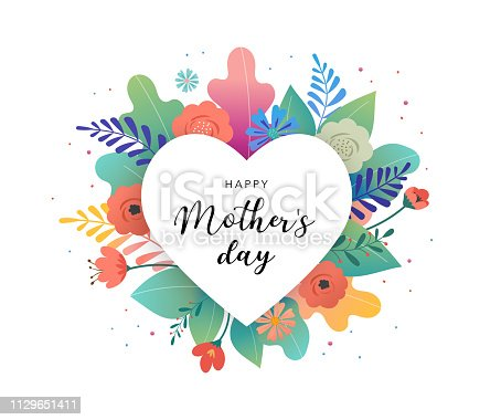 Big white heart with colorful flowers in background. Thank you and birthday card template, Mother's day greetings. Vector illustration