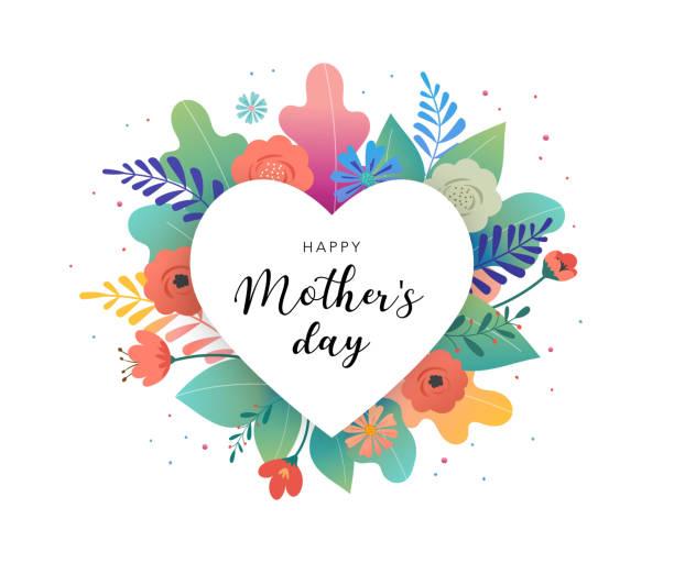 背景に色とりどりの花で大きな白い心。ありがとう、誕生日カード、母の日の挨拶。ベクトル図 - 母親点のイラスト素材/クリップアート素材/マンガ素材/アイコン素材