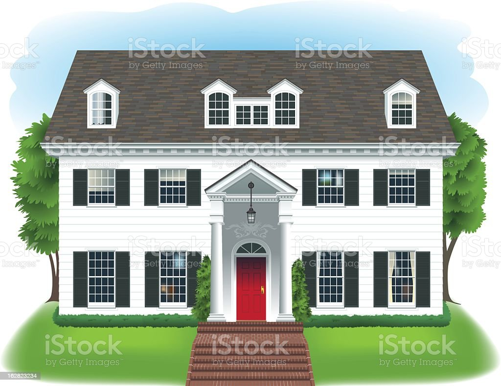 Big white house stock vector art 162823234 istock for Big house images
