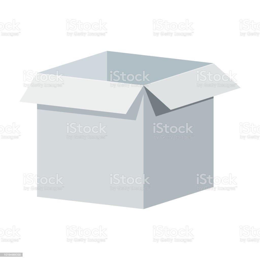 Ilustración de Plantilla Caja Abierta Blanco Grande Embalajes Para ...