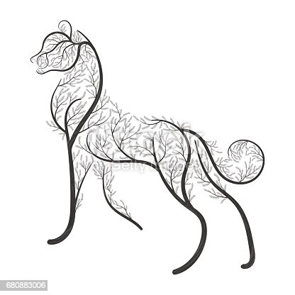 Big wild cat stylized by bushes  for use as symbols on cards, in printing, posters, invitations, web design and other purposes.