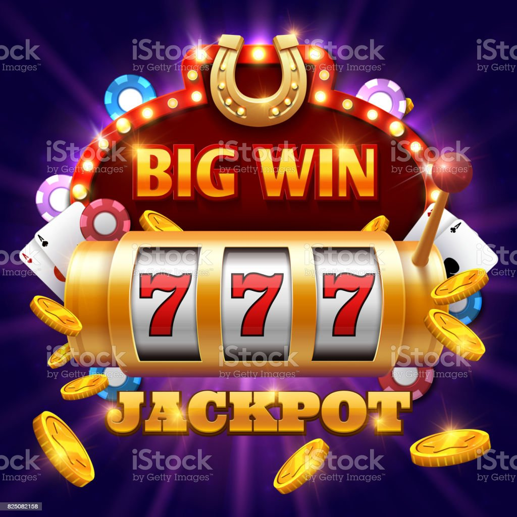 Big win 777 lottery vector casino concept with slot machine vector art illustration