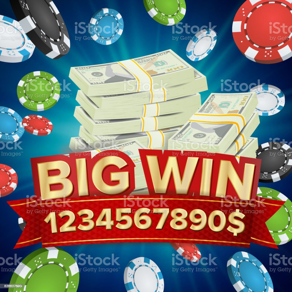 Big Win Banner Background For Online Casino Gambling Club