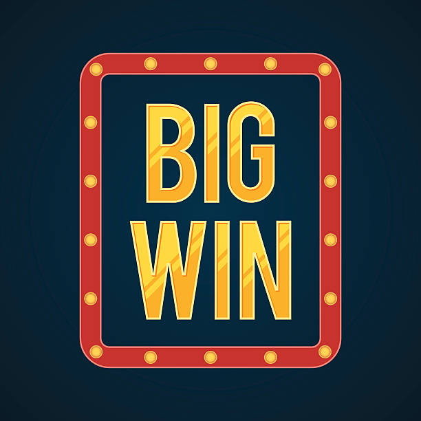 Big Win banner with glowing lamps vector art illustration