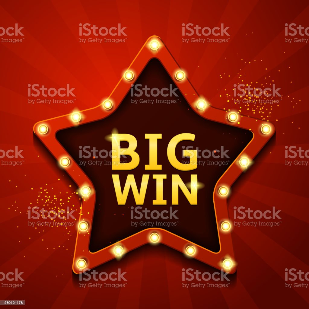 Big win retro banner in form of star with lamps vector art illustration