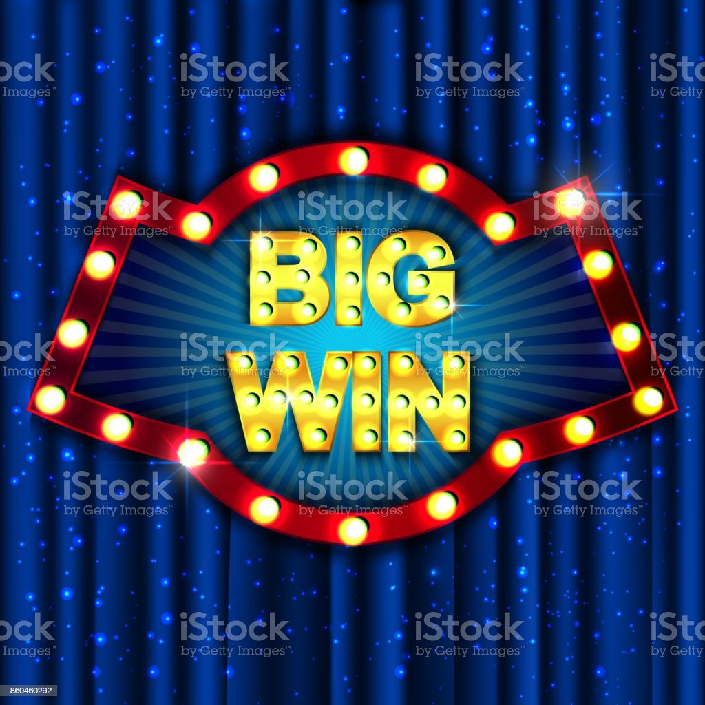 Big Win. Retro light sign. Vintage style banner. Vector illustration vector art illustration