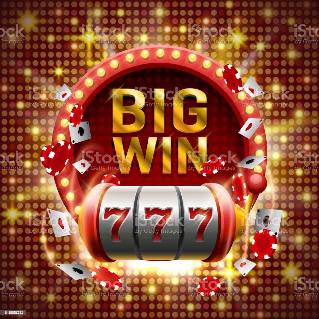 Big win slots 777 banner casino. vector art illustration