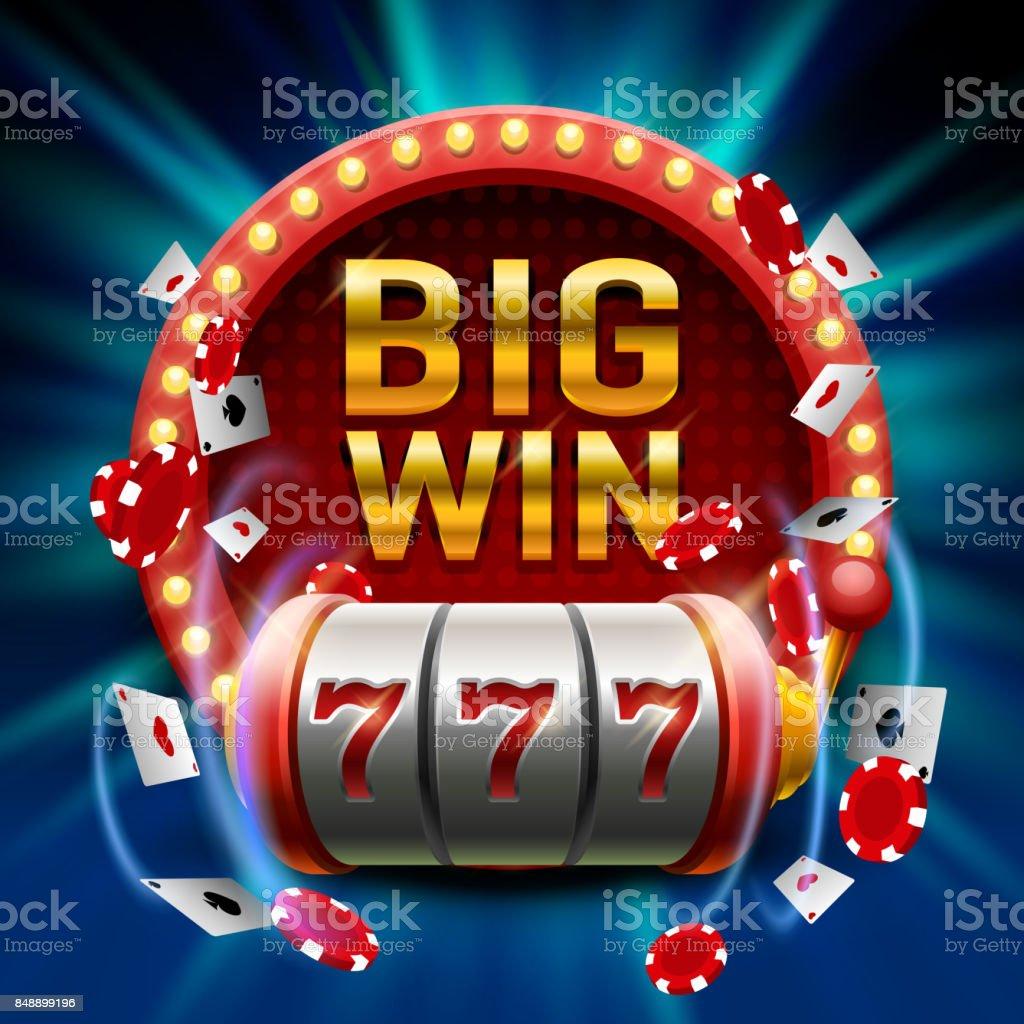 大きな勝利スロット 777 バナー カジノ。 ベクターアートイラスト