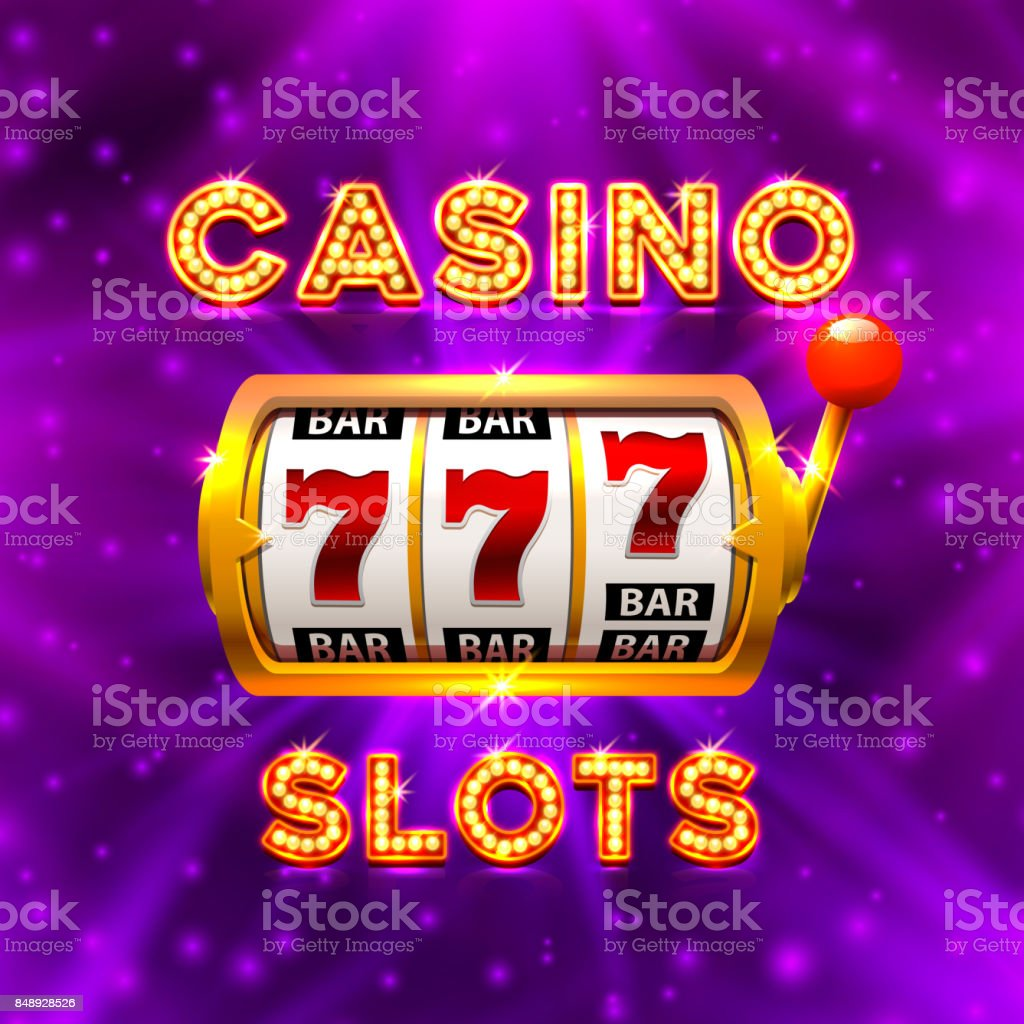 Big win slots 777 banner casino. vector art illustration