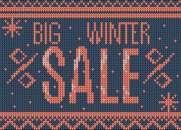 big winter-sale banner - gehäkelte lebensmittel stock-grafiken, -clipart, -cartoons und -symbole
