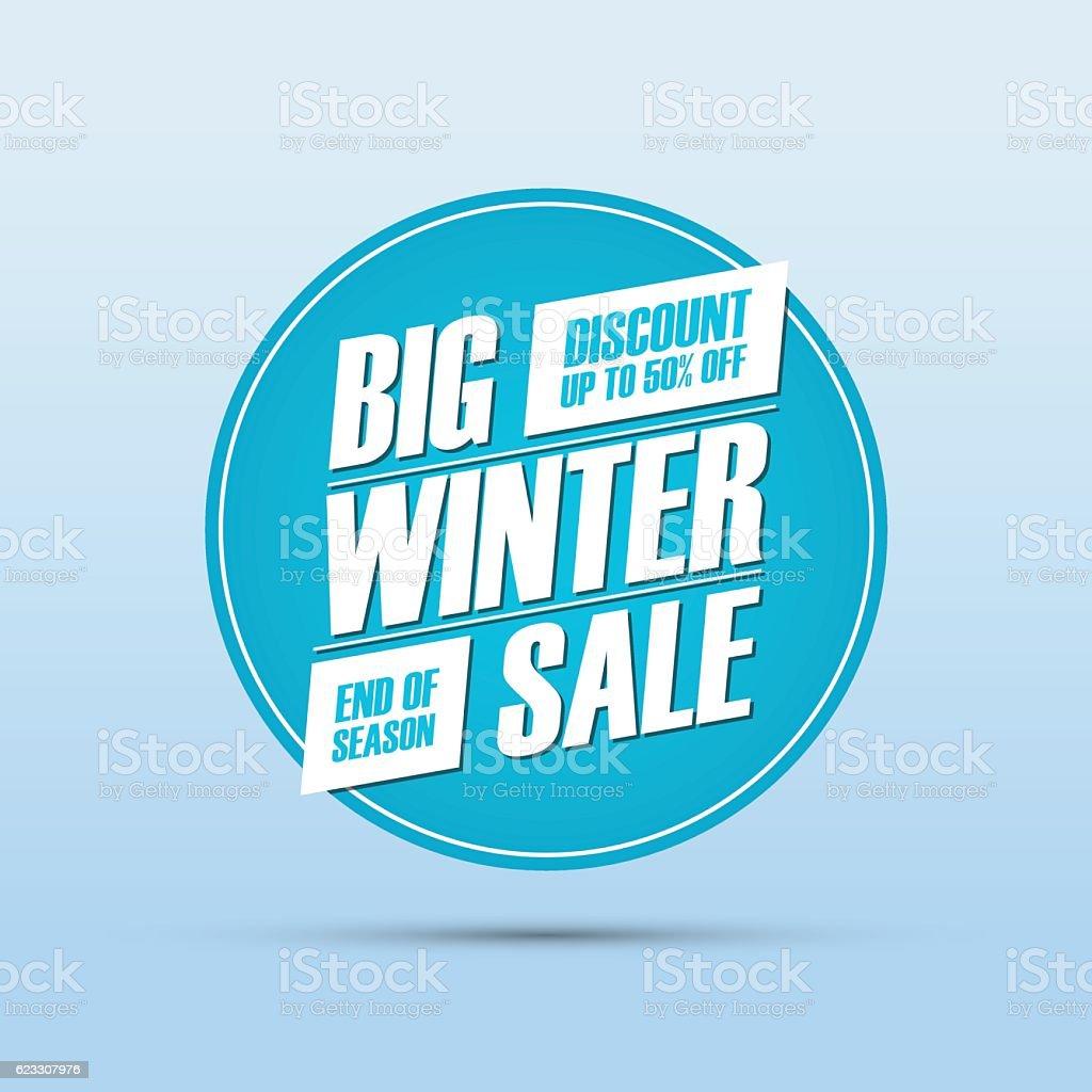 Big Winter Sale. End of season special offer banner. vector art illustration