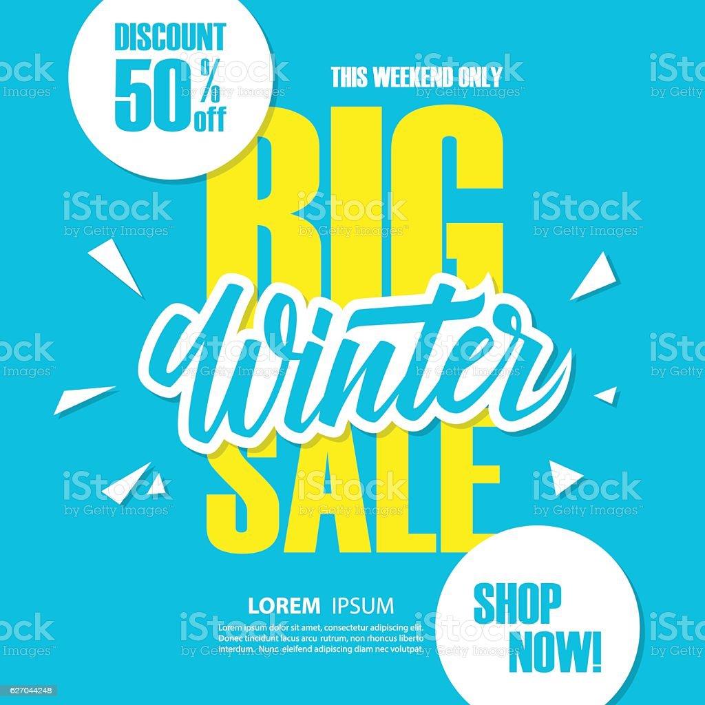 Big Winter Sale. Special offer banner. vector art illustration