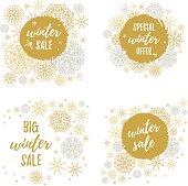 Big winter sale, Special winter offer labels, banners, sticker set. Vector winter holidays backgrounds with hand lettering calligraphy, Christmas gold snowflakes.