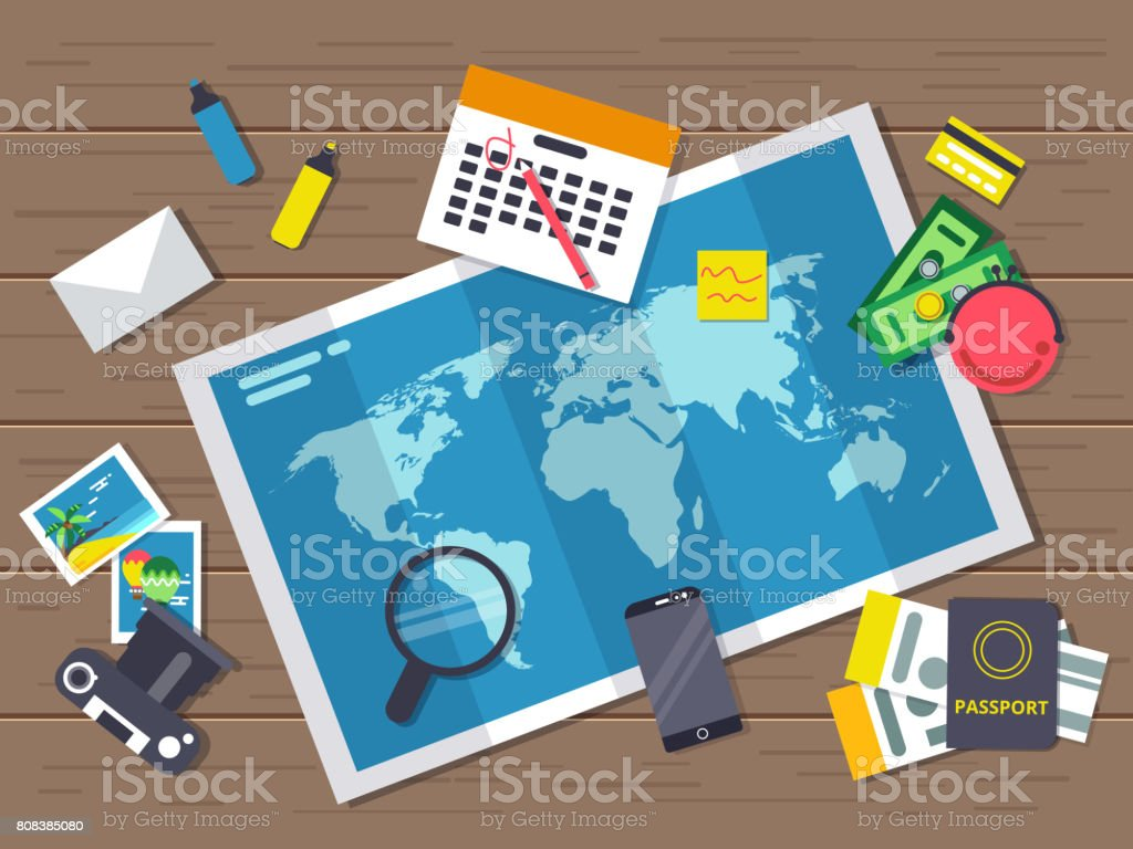Big world map with different traveling elements on it planning of big world map with different traveling elements on it planning of summer vacation route gumiabroncs Choice Image