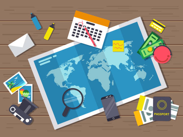 ilustrações de stock, clip art, desenhos animados e ícones de big world map with different traveling elements on it. planning of summer vacation route. vector illustrations in flat style. top view - top view, wood table, empty