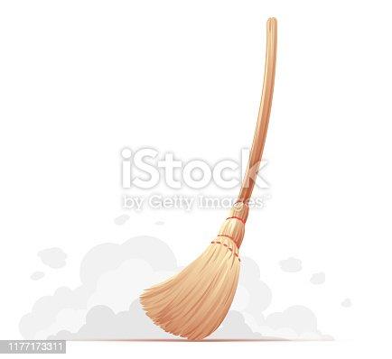 istock Big_yellow_broom_sweep_floor_isolated 1177173311