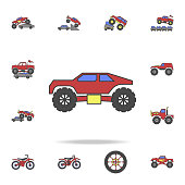 bigfoot car field coloricon. Detailed set of color big foot car icons. Premium graphic design. One of the collection icons for websites, web design, mobile app on white background