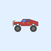 bigfoot car field outline icon. Element of monster trucks show icon for mobile concept and web apps. Field outline bigfoot car icon can be used for web and mobile on blue background