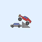 bigfoot car in jump field outline icon. Element of monster trucks show icon for mobile concept and web apps. Field outline bigfoot car in jump icon can be used for web and mobile on blue background