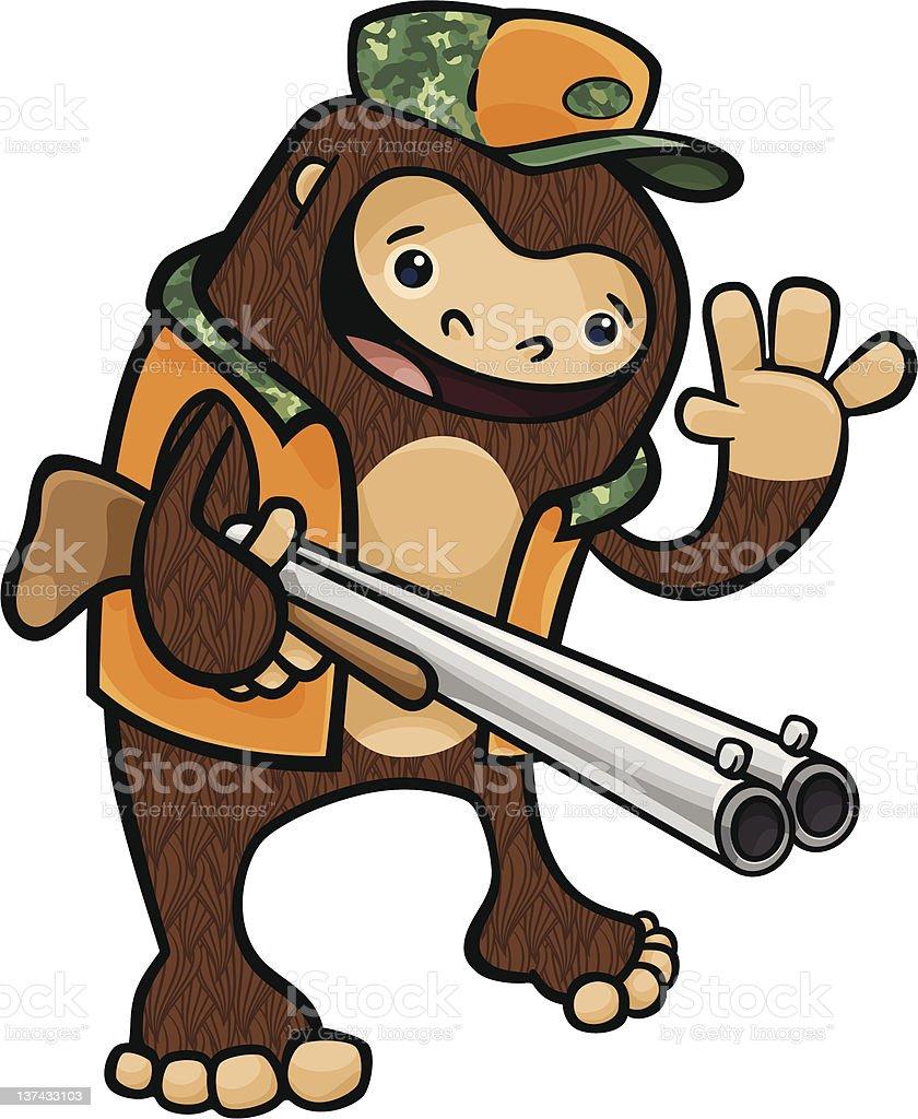Bigfoot Hunter vector art illustration