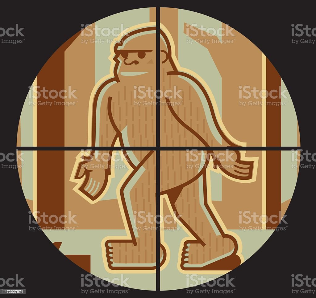 Bigfoot in crosshairs vector art illustration