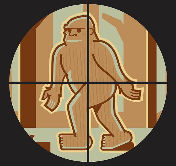 bigfoot in crosshairs - peter bajohr stock illustrations